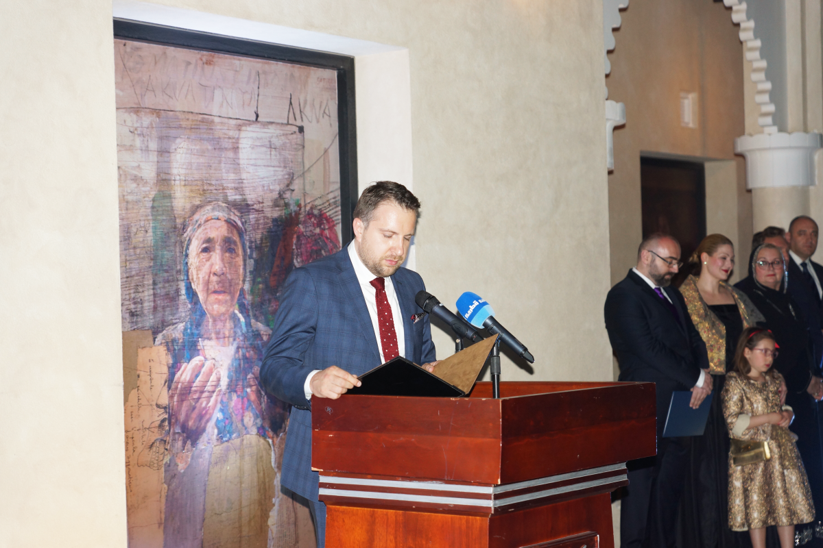 The opening ceremony of an exhibition of the Bosnian artist Mersad Berber at Katara